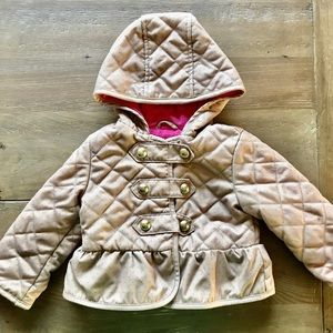 Gap baby quilted jacket gold buttons girl 18-24
